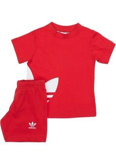Adidas Logo Print Cotton T-shirt & Sweat Shorts