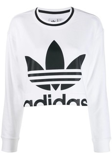 Adidas logo print cropped sweater
