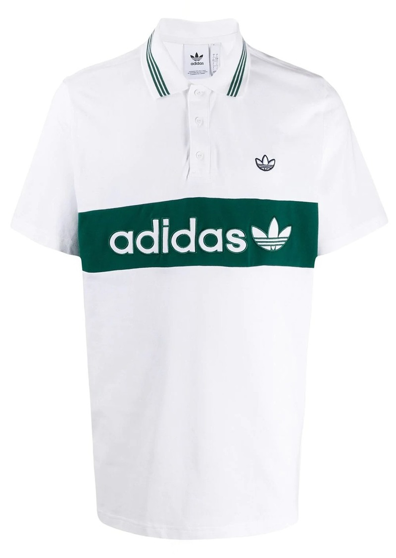 Adidas logo stripe polo shirt