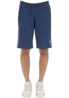 Adidas Logo Striped Cotton Jersey Shorts