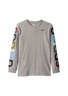 Adidas Long Sleeve Heather Linear Tee (Big Kids)