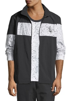 Adidas Men's Speckled-Stripe Track Jacket