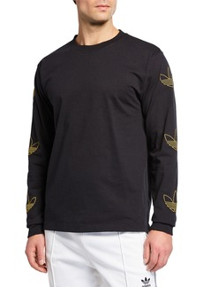 Adidas Men's Trefoil Trim Long-Sleeve T-Shirt
