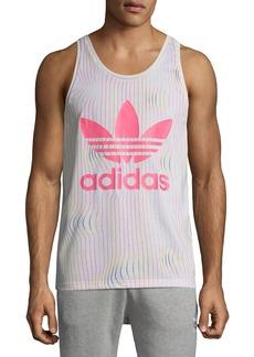 Adidas Men's Warped Stripes Logo-Graphic Tank