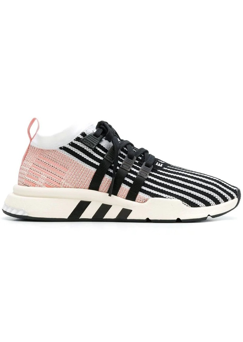 Adidas pink, black and white eqt support mid adv primeknit sneakers
