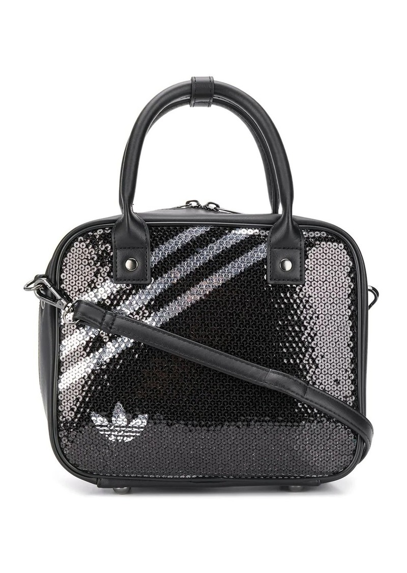 Adidas sequined three-stripe tote bag