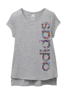 Adidas Short Sleeve Curved Hem T-Shirt (Big Girls)
