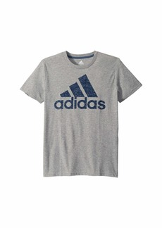 Adidas Short Sleeve Heather Back Print Badge of Sport Tee (Big Kids)