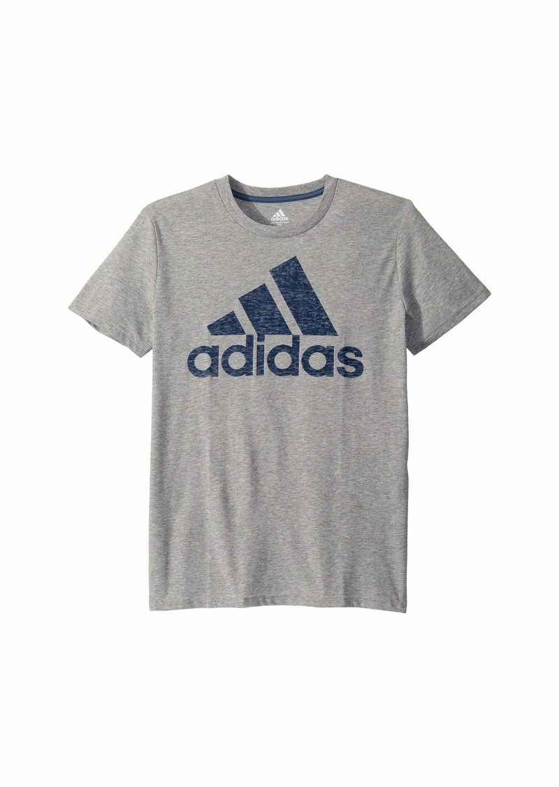 Adidas Short Sleeve Heather Back Print Badge of Sport Tee (Big Kids)