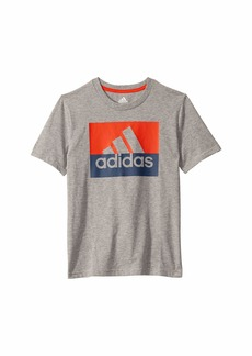 Adidas Short Sleeve Heathered Block Badge of Sport Tee (Big Kids)