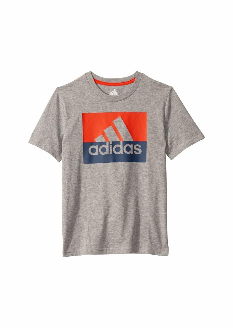 Adidas Short Sleeve Heathered Block Badge of Sport Tee (Big Kids)