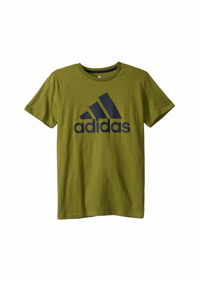 Adidas Short Sleeve Texture Badge of Sport Tee (Big Kids)