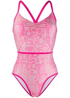 Adidas by Stella McCartney snakeskin-print ruched swimsuit