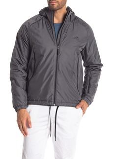Adidas Solid Lined Hooded Zip Front Jacket
