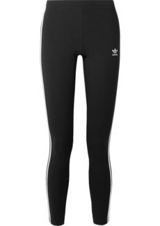 Adidas Striped Cotton-blend Jersey Leggings