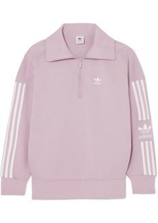 Adidas Striped Cotton-blend Jersey Sweatshirt