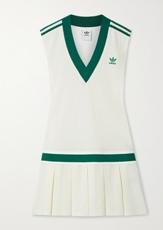 Adidas Striped Pleated Recycled Pique Tennis Dress