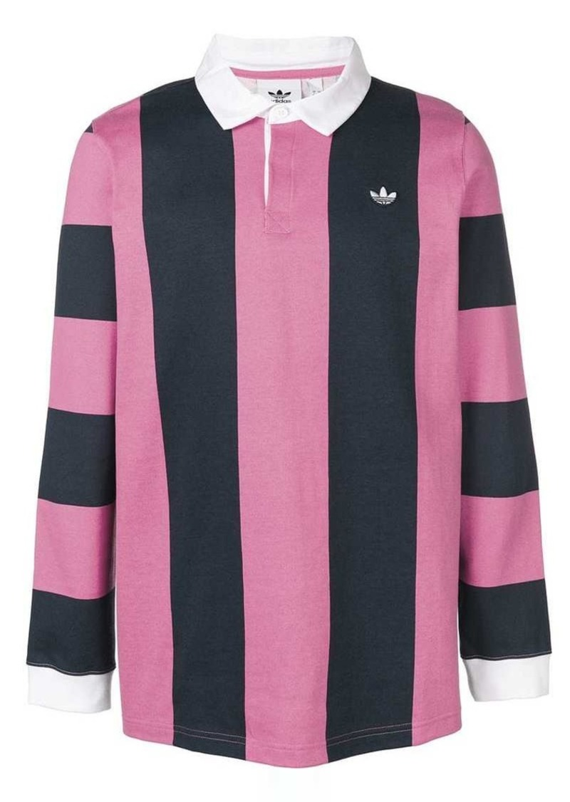 Adidas striped rugby polo shirt