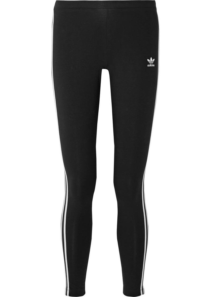 Adidas Striped Stretch-cotton Jersey Leggings