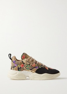 Adidas Supercourt Suede-trimmed Floral-print Snake-effect Leather Sneakers