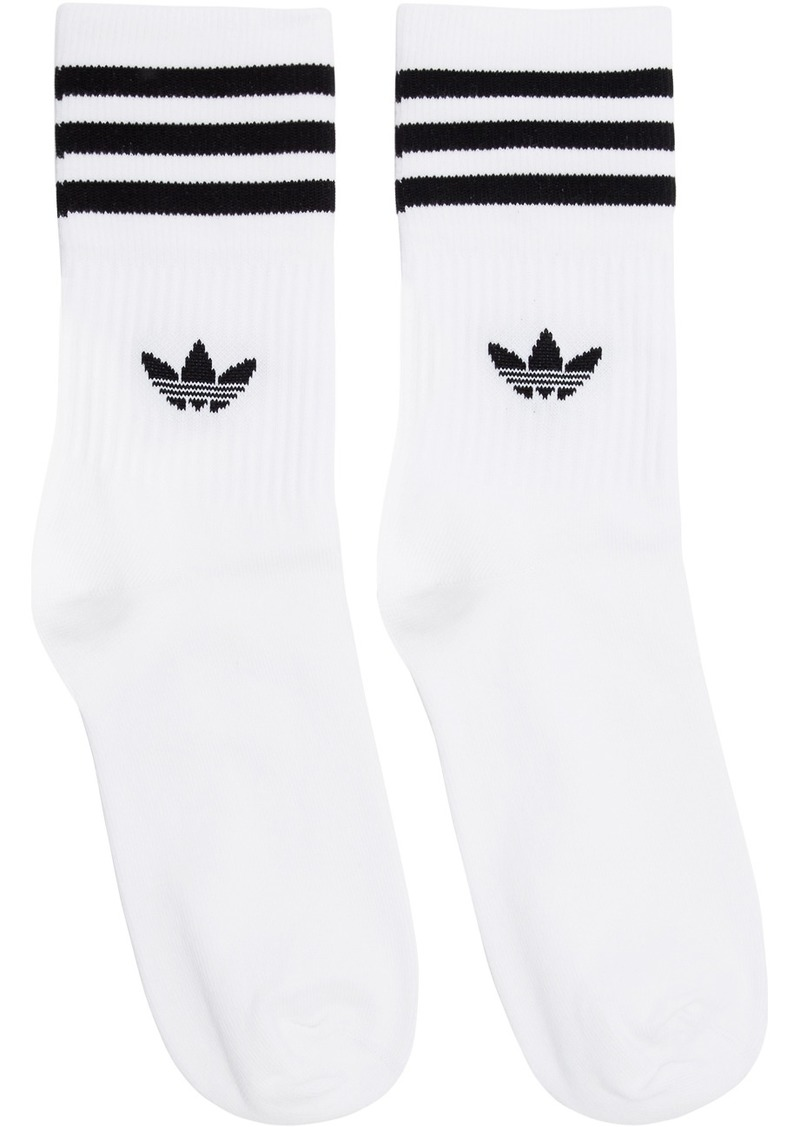 Adidas Three-Pack White & Black Striped Socks