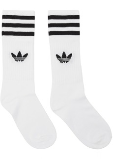 Adidas Three-Pack White & Black Striped Socks