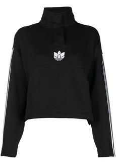 Adidas trefoil-embroidered stand-up collar sweatshirt