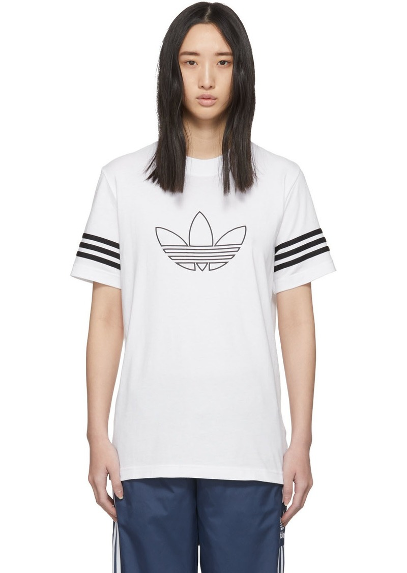 Adidas White Outline Trefoil T-Shirt