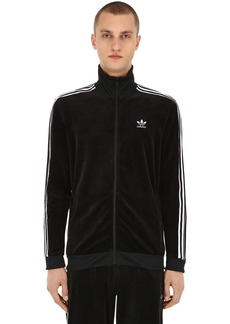 Adidas Zip-up Cotton Blend Velour Track Jacket