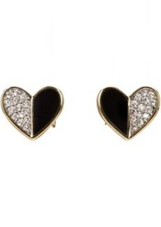 Adina Reyter Gold & Black Ceramic Pavé Folded Heart Earrings