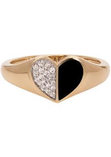 Adina Reyter Gold & Black Ceramic Pavé Folded Heart Ring