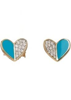Adina Reyter Gold & Blue Ceramic Pavé Folded Heart Earrings