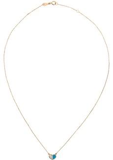 Adina Reyter Gold & Blue Ceramic Pavé Folded Heart Necklace