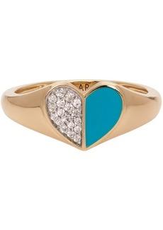 Adina Reyter Gold & Blue Ceramic Pavé Folded Heart Ring