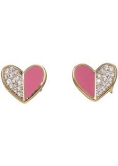 Adina Reyter Gold & Pink Ceramic Pavé Folded Heart Earrings