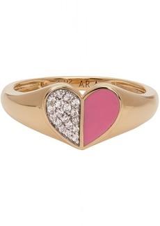 Adina Reyter Gold & Pink Ceramic Pavé Folded Heart Ring