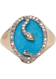Adina Reyter Gold & Turquoise Oval Snake Signet Ring