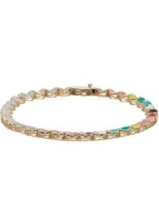 Adina Reyter Gold Ceramic Pavé Folded Heart Tennis Bracelet