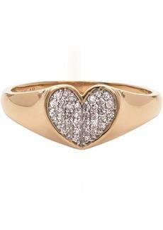 Adina Reyter Gold Diamond Pavé Folded Heart Ring