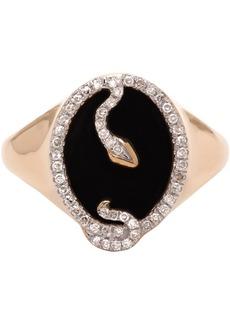 Adina Reyter Gold Onyx Oval Snake Signet Ring