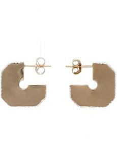 Adina Reyter Gold Square Pavé Dog Tag Hoop Earrings