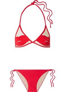 Adriana Degreas Charlotte Olympia Pin-up Kiss Tulle-paneled Triangle Bikini