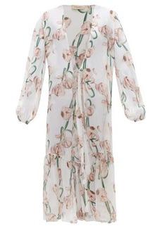 Adriana Degreas Aglio-print silk-voile robe