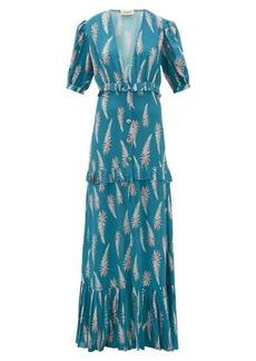 Adriana Degreas Aloe-print pleated-trim twill maxi dress