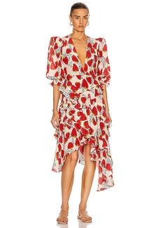 ADRIANA DEGREAS Asymmetric Ruffle Midi Dress