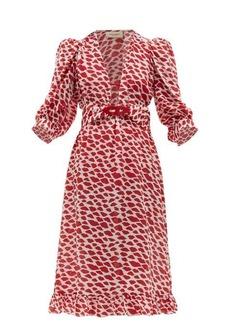 Adriana Degreas Bacio lips-print silk crepe de Chine dress