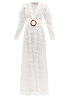 Adriana Degreas Belted silk-blend fil coupé maxi dress