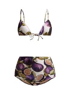 Adriana Degreas Fig-print high-rise bikini