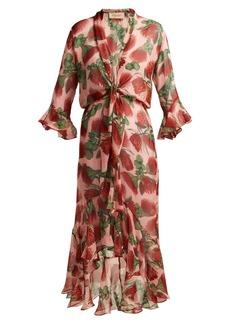 Adriana Degreas Fiore Protea-print silk ruffled midi dress