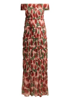 Adriana Degreas Fiore protea-print tiered silk maxi dress